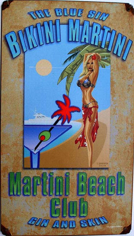 Bikini Martini Metal Sign