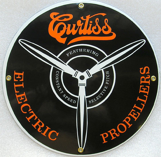 Curtis Electric Propellers Porcelain Sign 12""