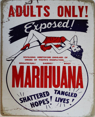 Adults Only-Marijuana Metal Sign