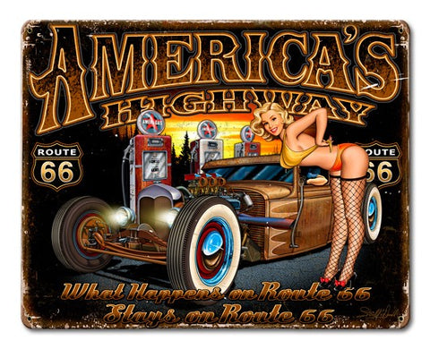 America's Highway Pin-Up Metal Sign