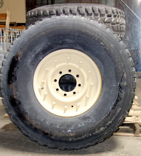 "HUMVEE Mounted Spare Tire (1 TIRE) - 70% Tread - Goodyear MT radial 37"" - M998 / HMMWV"