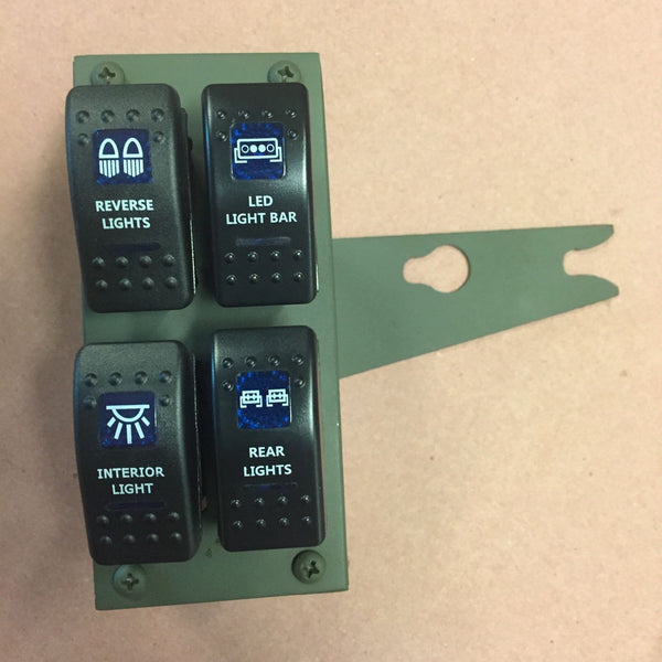 Humvee 4-Gang Rocker Switch Panel with switches or without - Lights Fans Winch Etc.