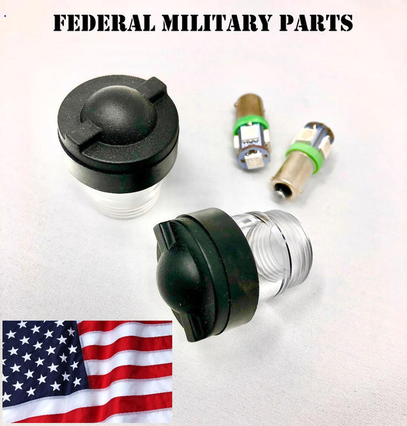 MILITARY HMMWV DASH BULB LENS COVER + RUBBER SEALS - BLACK PAIR & 2 DASH BULBS - M998 HUMVEE  12339203-1