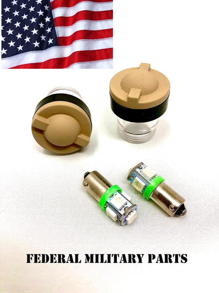 MILITARY HMMWV DASH BULB LENS COVER + RUBBER SEALS - TAN PAIR & 2 DASH BULBS - M998 HUMVEE  12339203-1