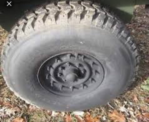 "Humvee Mounted Spare Tire (1 TIRE) - 70% Tread - Goodyear and BFG radial 37"" - M998 / HMMWV"
