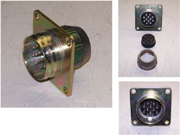 MS75021-1  --  12 Pin 24V Amphenol Brass Electrical Socket for Military Vehicles including HUMVEE