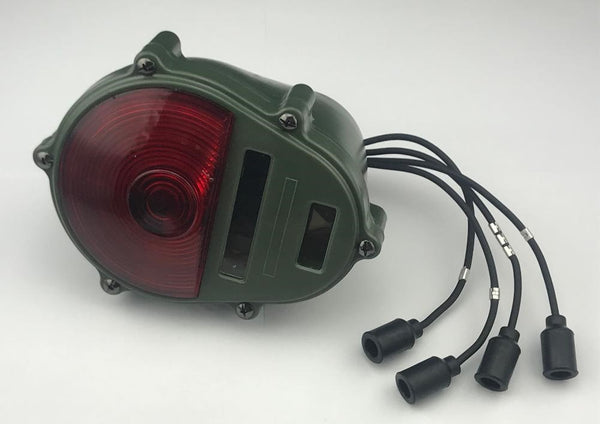 Rear Turn Signal Brake Stop Turn Light Assembly Green Body Red Lens 24-Volt Military Humvee and other Wheeled Vehicles