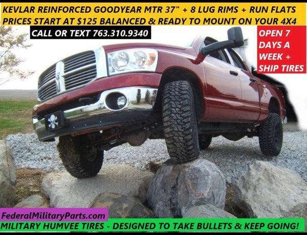 "GOODYEAR MT/R KEVLAR HUMVEE SPARE TIRE - SINGLE 37"" TIRE - 90-100% - 10 PLY - 24 BOLT - MOUNTED ON RIM - INCLUDES RUN-FLAT INSERT"