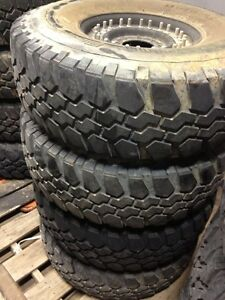 "Humvee Tires Matched Sets of Two or Four 37"" Tall 65%-90% Tread Bfg Mounted on rims and Includes Run-Flat Inserts"