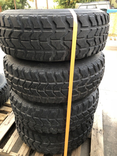 "HUMVEE TIRES - MATCHED SET OF 4 - 37"" - GOODYEAR MT RADIALS - MOUNTED ON RIMS - INCLUDES RUN-FLAT INSERTS"