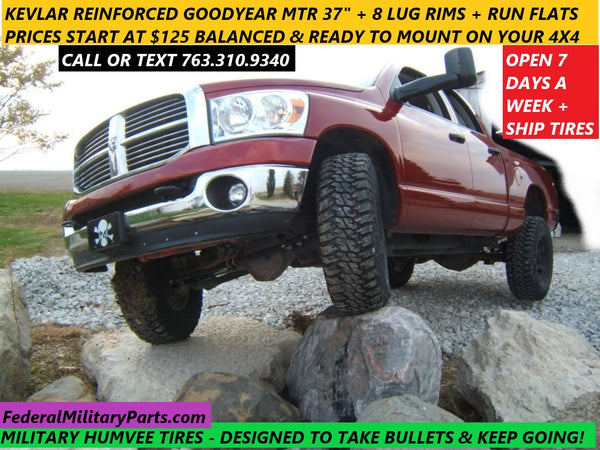 "GOODYEAR MT/R KEVLAR HUMVEE TIRES - MATCHED SET OF 4 - 37"" - 90-100% - 10 PLY - 24 BOLT - MOUNTED ON RIMS - INCLUDES RUN-FLAT INSERTS"