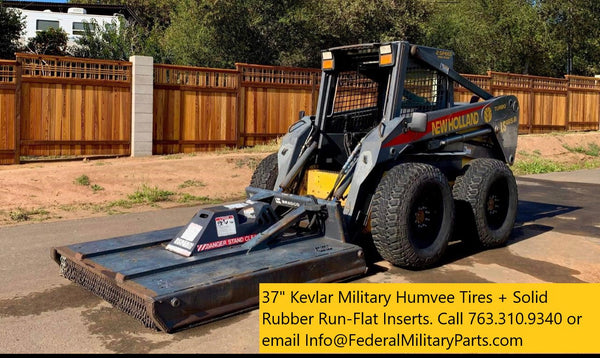 "Military Kevlar Tires for Skid steer Matched Sets of four or five 37"" Mounted on 8-Lug 16.5"" Rims 90-100% Tread. 10 PLY   24 Bolt   Plus Run flat Insert"