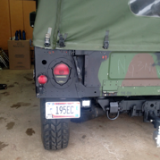 HUMVEE REAR LICENSE PLATE HOLDER BRACKET FRAME - PJ - NO DRILLING TO INSTALL - M998 HMMWV - NOT PREWIRED