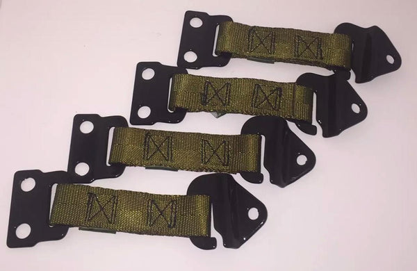 Four OEM Green Door Limiter Straps for Military Humvee.  For a four door vehicle, hard or soft doors