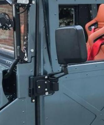 MILITARY HUMVEE MIRRORS + ADAPTER PLATES (PAIR - LEFT AND RIGHT) - FOR X-DOORS - NO DRILLING TO MOUNT