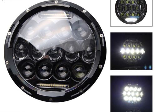Military Humvee Headlights LED BLACK BEZEL M998 Pair Head Light Plug & Play 75W HMMWV