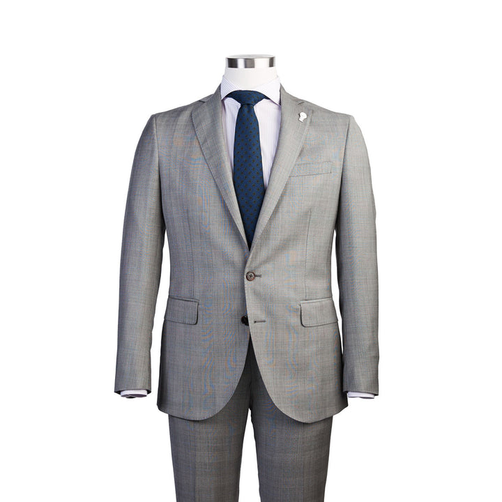 Subtle shaping gives the suit a quintessential Italian look