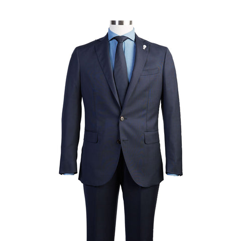 Navy Tonal Plaid Suit