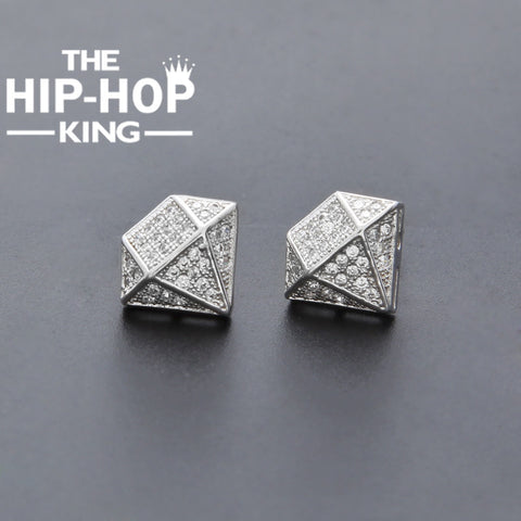 Iced Out White Diamond Earrings