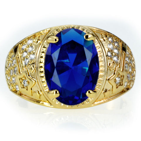 Blue Diamond and 18k Yellow Gold Ring