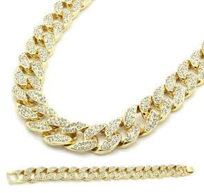 Iced Cuban Link Chain and Bracelet Set