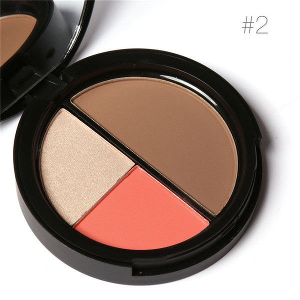 3 Colors Bronzers and Highlighters Powder