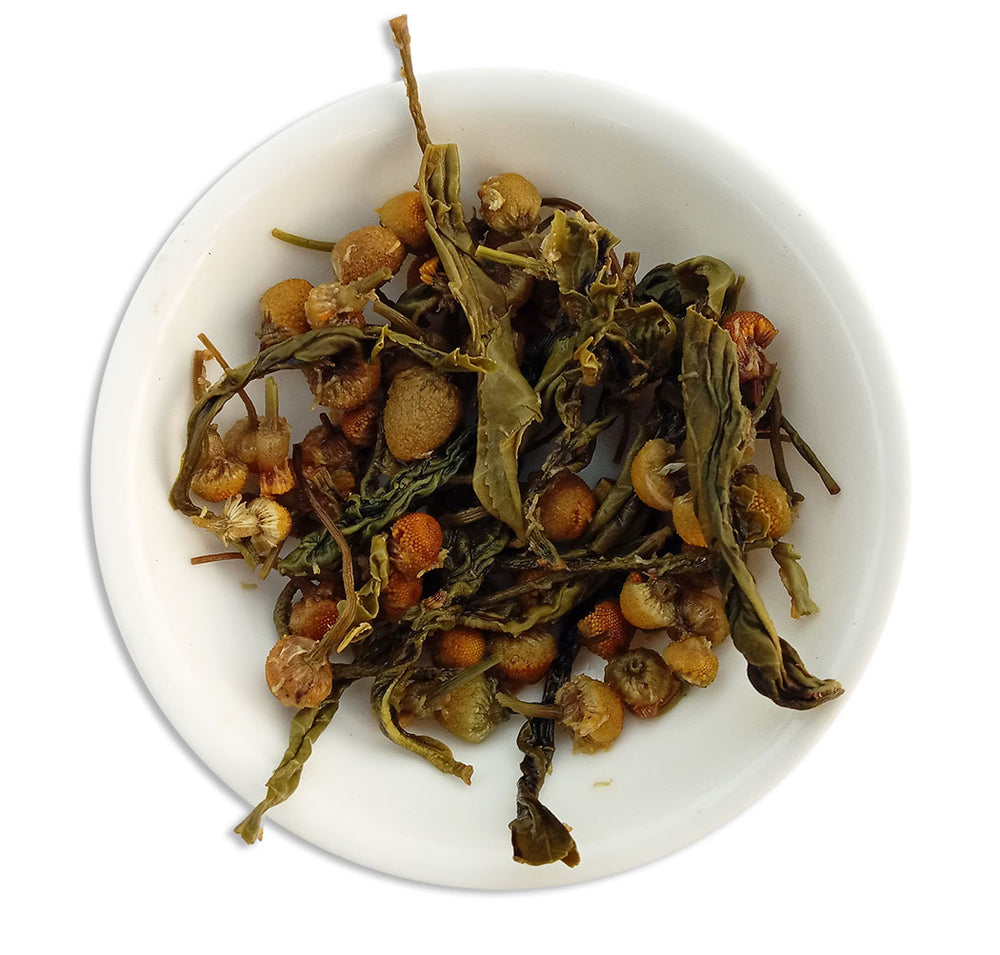 Organic Chamomile Green Sunshine Tea - Wet Leaves