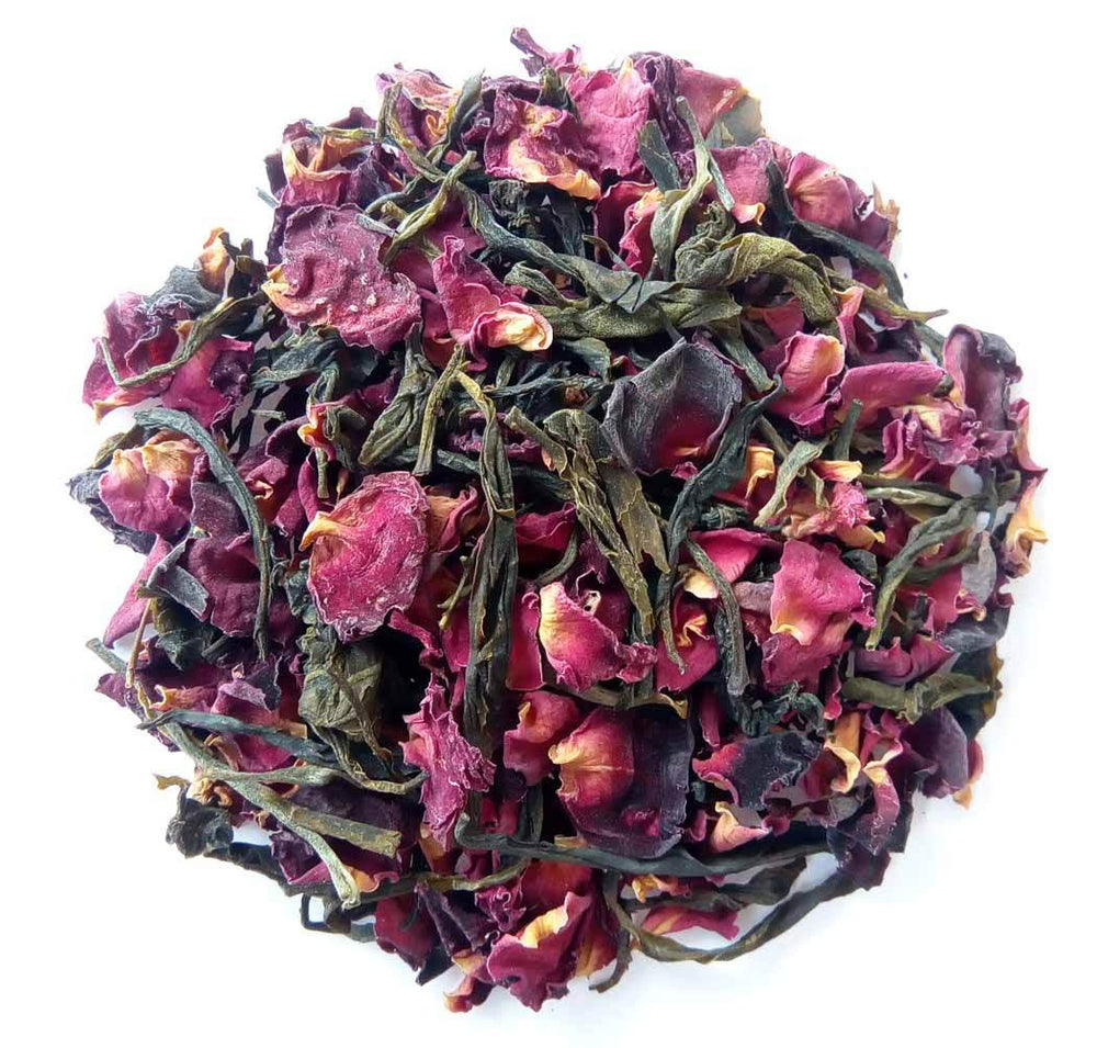 Organic Rose Green Tea : Rose Green Allure - Dry Leaves