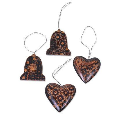 Handmade Batik Christmas Ornaments (set of 4)