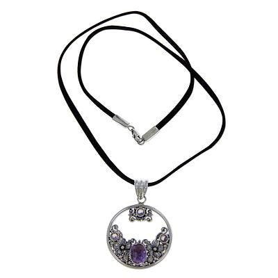 CatBatik, Amethyst and Sterling Silver Necklace Bali Jewelry, 'Frangipani Moon', Necklace