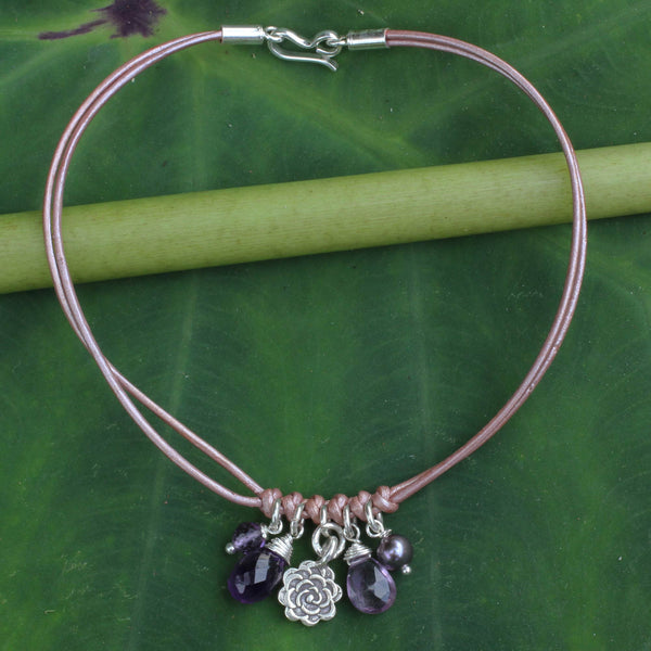 Amethyst Pearl and Silver Charms on Leather Bracelet, 'Hill Tribe Rose'