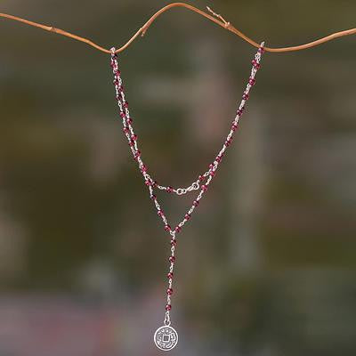 "Garnet & Sterling Silver 'Y"" Necklace from Bali"