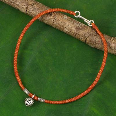 Handmade Anklet with Flower Charm, 'Orange Jasmine'