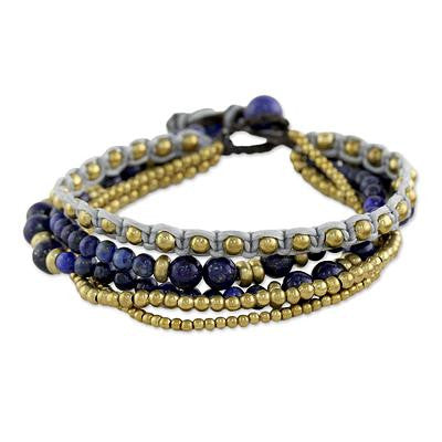 Brass and Lapis Lazuli Multi-Strand Beaded Bracelet, 'Brisk Ocean'