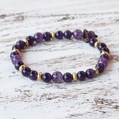 Amethyst and Brass Beaded Bracelet 'Beautiful Purple'
