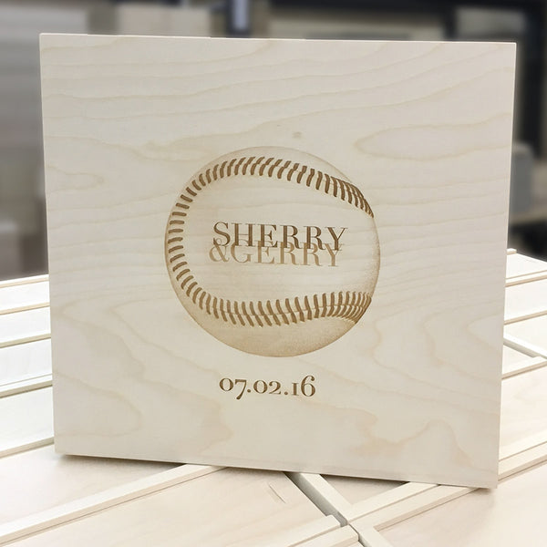baseball engraved on back of wine box