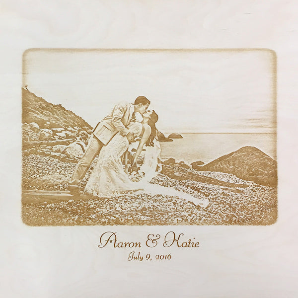 newlyweds by the sea - photo engraved on back of wine box