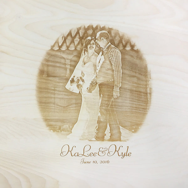 smiling couple walking - photo engraved on back of wine box