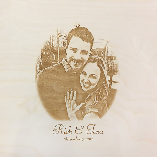 couple engagement ring - photo engraved on back of wine box