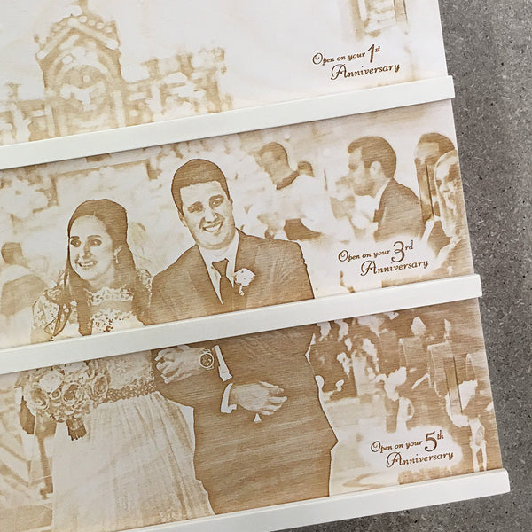 couple walking down isle - Photo Anniversary Wine Box