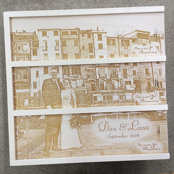 couple near urban buildings - Photo Anniversary Wine Box