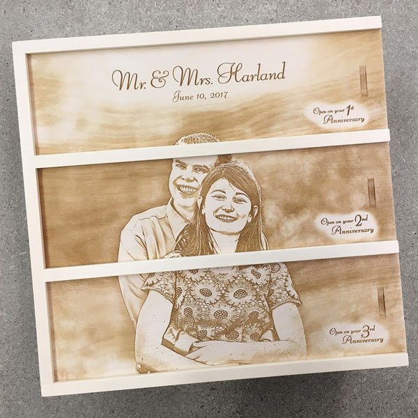smiling young couple engagement - Photo Anniversary Wine Box
