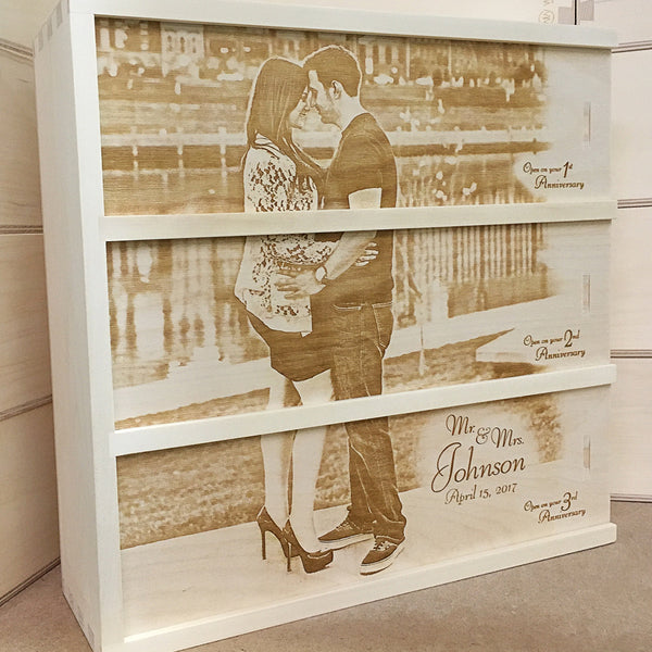 couple near water - Photo Anniversary Wine Box