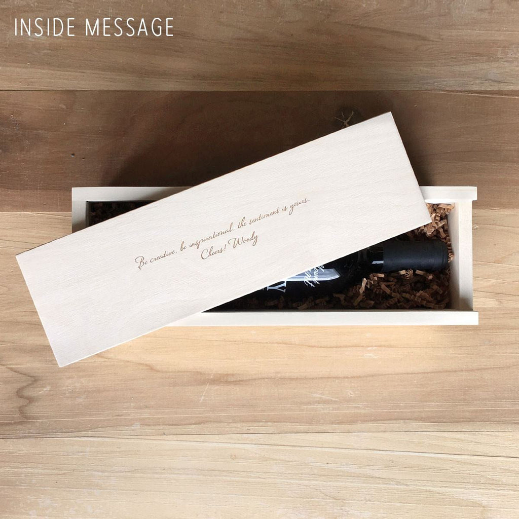 Wine Box inside lid message
