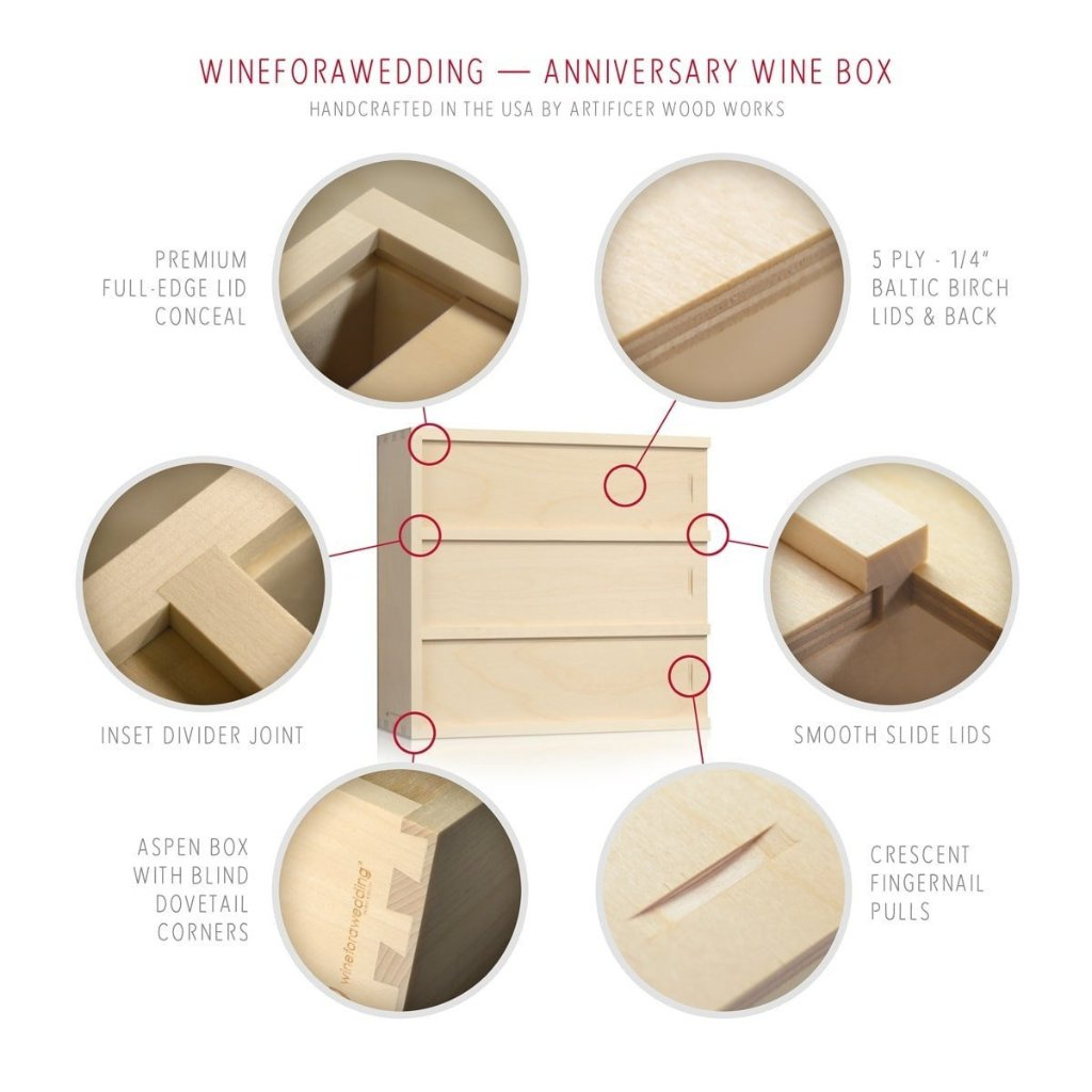 Anniversary Wine Box - by WineforaWedding - Detail of Construction
