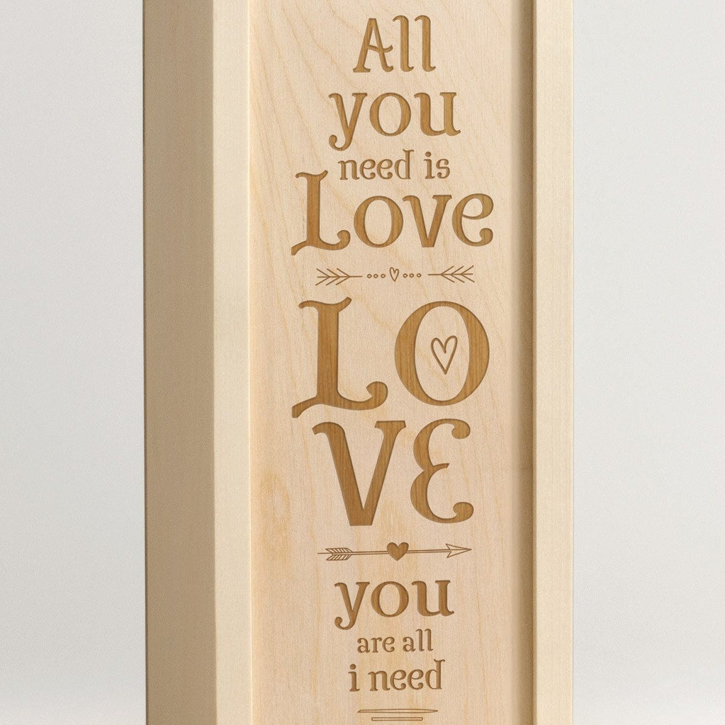 All You Need Is Love - Wine Box Closeup
