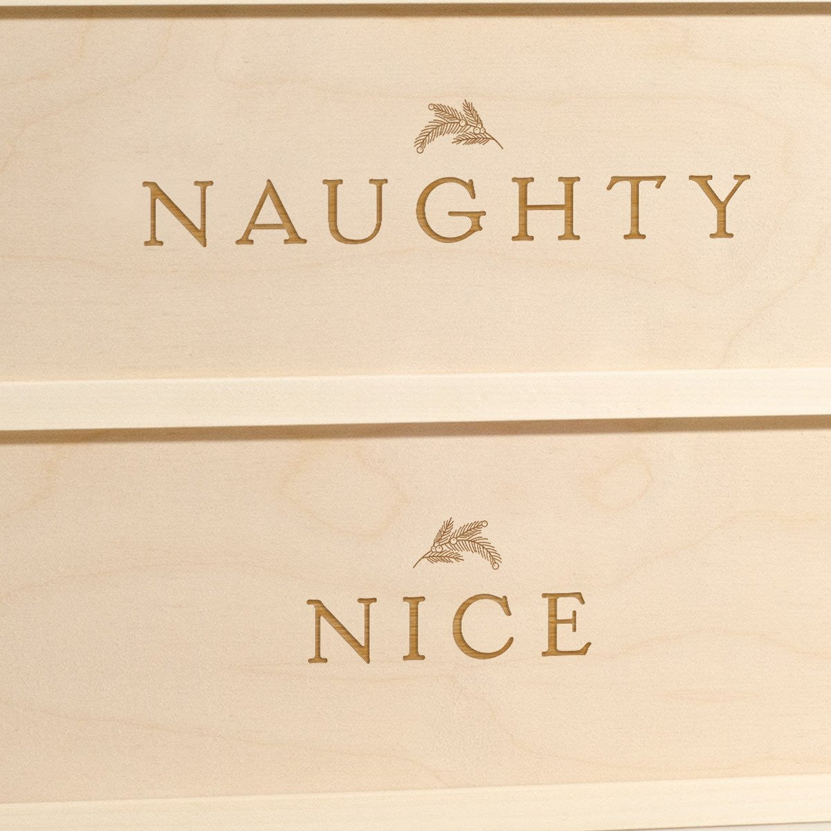 Naughty or Nice - Christmas Wine Box - Detail Image