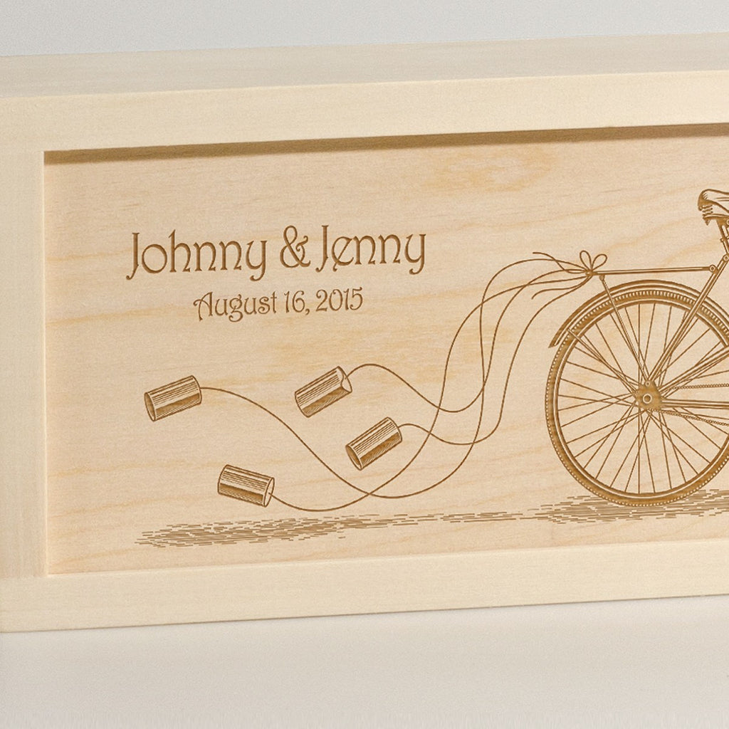 Pedal Together - Wedding Wine Box - Detail Image