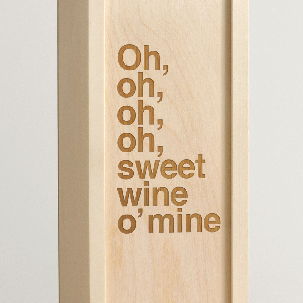 Sweet Wine O Mine - Rock Lyrics Wine Box - closeup