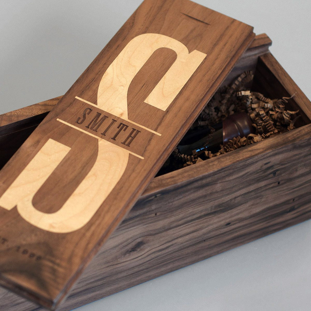 Walnut Uno - Inlaid Wine Box - Detail Image 1
